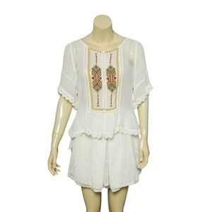 Anthropologie Floreat Top M Embroidered Lace 11837